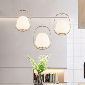 Modern simple milk white glass plating golden iron E27 single head pendant lamp Nordic creative balcony decoration LED lighting