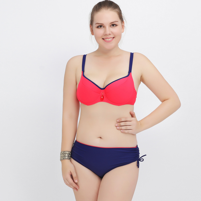 ФОТО 2017 New Plus Size Bikinis Push Up Swimsuit Solid Beach Wear Swimwear Women Large Bathing Suit Underwire Swim Suits Bikini Set