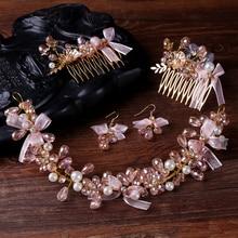 New Fashion Women Jewelry Handmade Pearl Charm Hair Comb Headbands Bridal Tiara Hair Ornaments Bijoux Hairbands