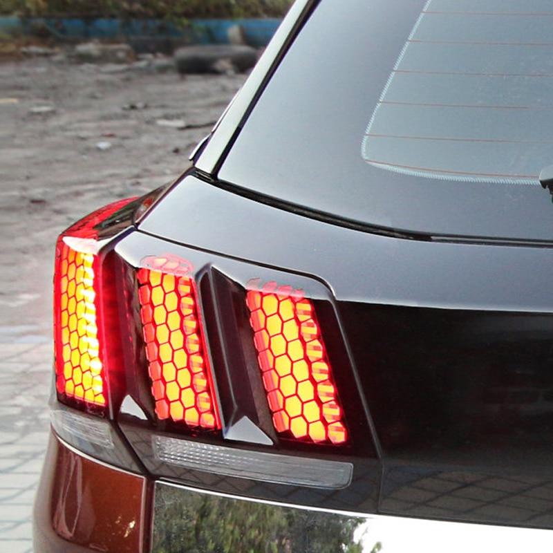 For Peugeot 3008 GT 2017 2018/ 5008 GT 2017 2018 Plastic Honeycomb Style Rear Tail Light Stickers Cover 6PCS Car Styling брызговики передние и задние кроме gt для peugeot 3008 2017
