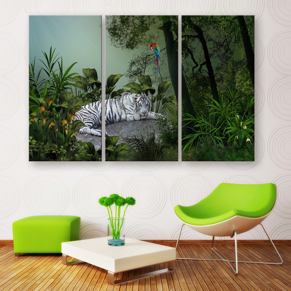 Hd Oil Painting Tiger And Parrot Decoration Painting Home Decor On Canvas Modern Wall Art Canvas