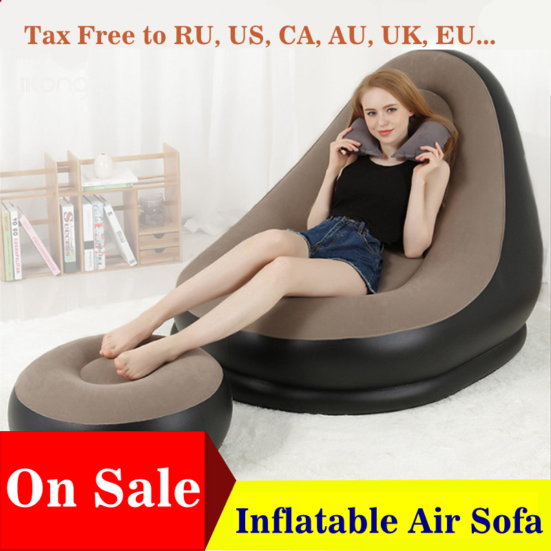 Magnificent Us 7 19 55 Off Inflatable Furniture Chair Sofa Lounger With Ottoman Foot Stool Rest Single Couch Beanbag Living Room Outdoor Air Lounge Chairs In Alphanode Cool Chair Designs And Ideas Alphanodeonline