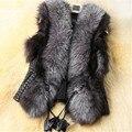2017 Black Autumn Spring And Winter High Imitation Faux Fox Fur Pu Leather Vest Gilet Outerwear Women's Coat YY330