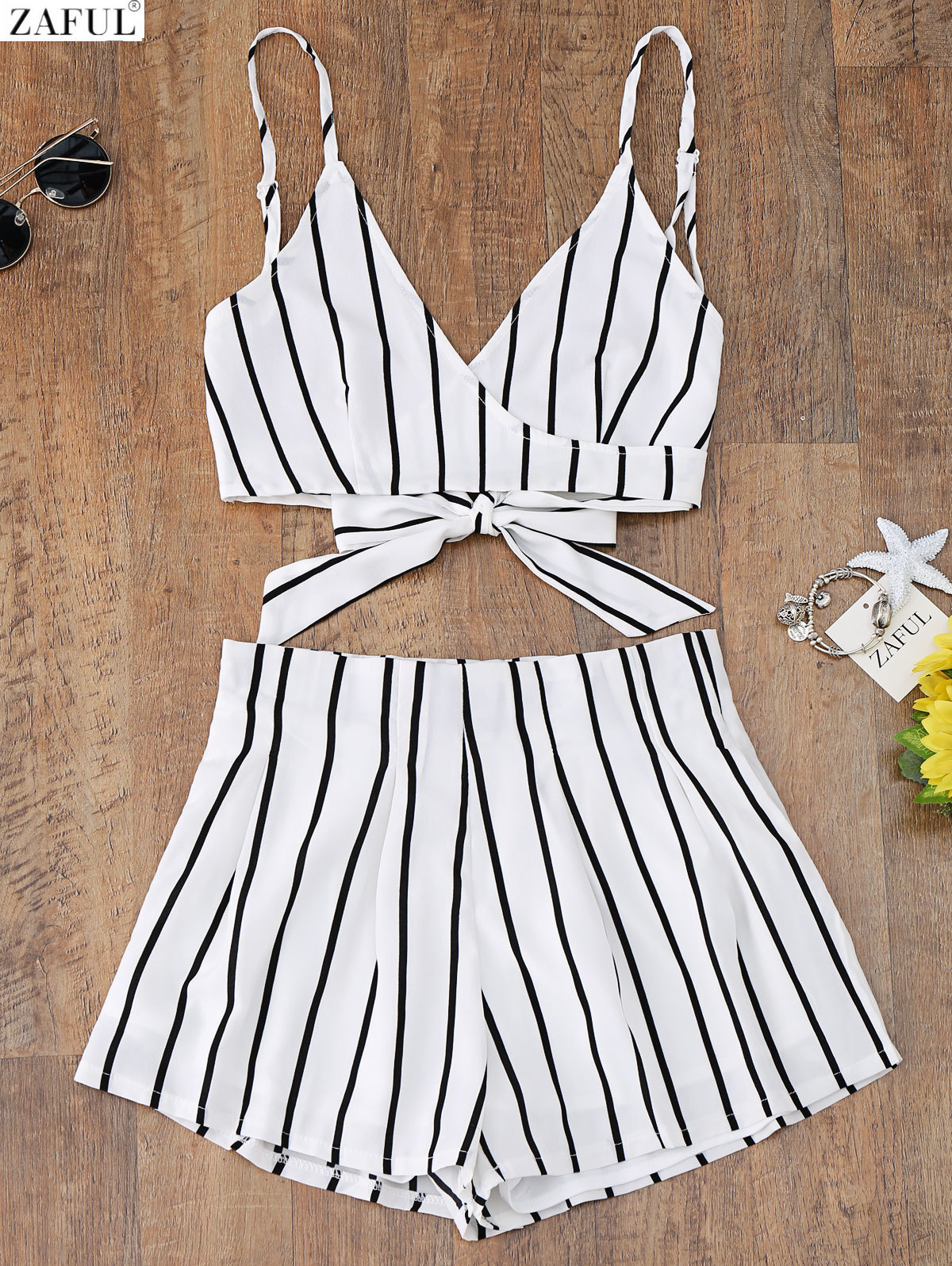 цены ZAFUL New Cami Wrap Top with Striped Shorts Tied Slip Top Women Crop Summer Beach Stripe Top High Waisted Shorts