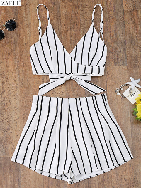 58aa7e6b29 ZAFUL New Cami Wrap Top with Striped Shorts Tied Slip Top Women Crop Summer  Beach Stripe