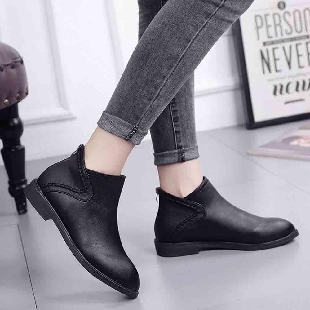 Muqgew Bout Dropship Noir Cheville Femmes Avec Carré Chaussures Simples Bottes marron Carrée Zip Tête Pointu De rwBfrqv