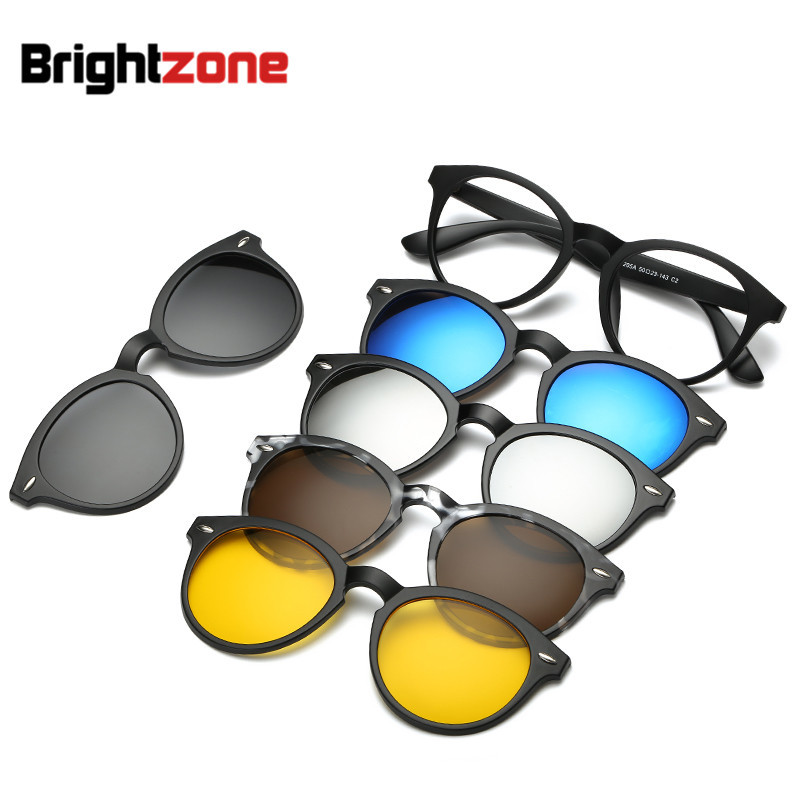 Brightzone Retro 5 +1 Set Glasses Unisex Light Rectangle Mirror Polarized Sunglasses Clip-on Prescription Rx Eyeglasses Frames