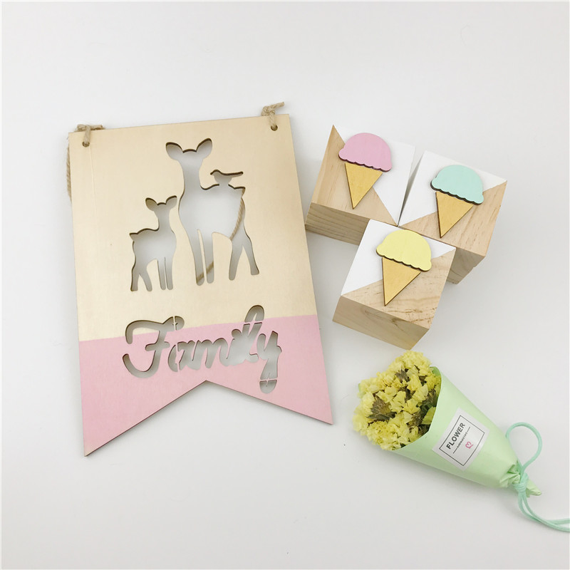 Cute 3PC Wooden Ice-Cream Square Baby Crib Toy General Supplies Non-toxic Photography Props Original Wedding Ornament Kids Gift