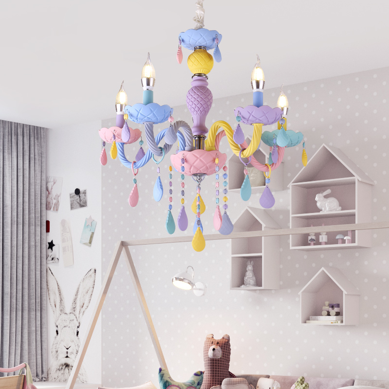 DX Colorful Crystal Chandelier Macaron Color Droplight Children Bedroom Lamp Creative Fantasy Luminaire Stained Glass Lustre