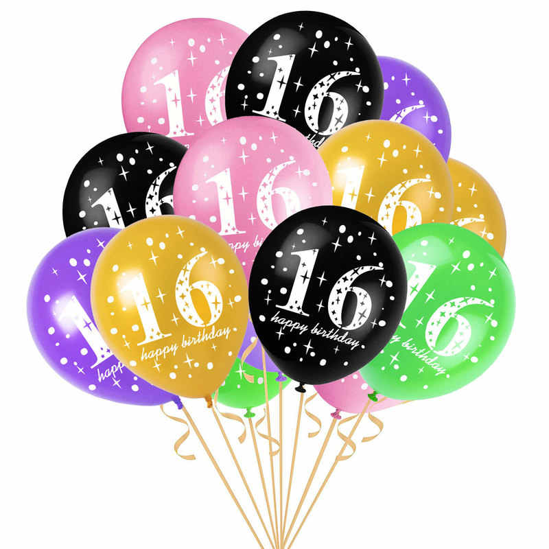 10pcs 12inch Printed 1st 16 18 Birthday Decoration Latex Balloons Ritual Party Anniversary Decor Inflatable
