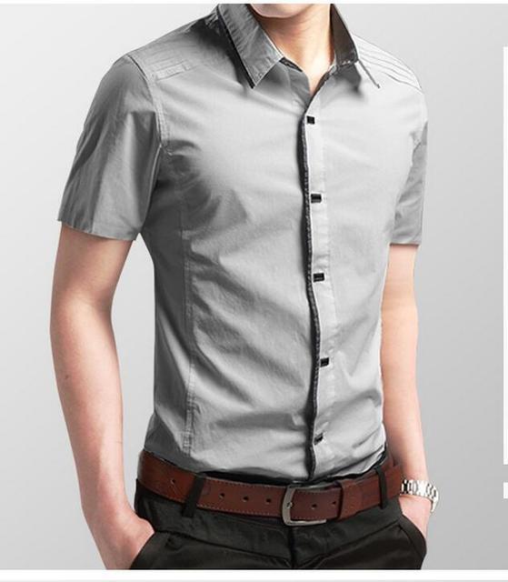 2017 Nueva Primavera Verano Camisas de Los Hombres Nueva Casual de Negocios Sólido Camisa de Color de Manga Corta Slim Fit Camisas Masculinas Hot Collection venta