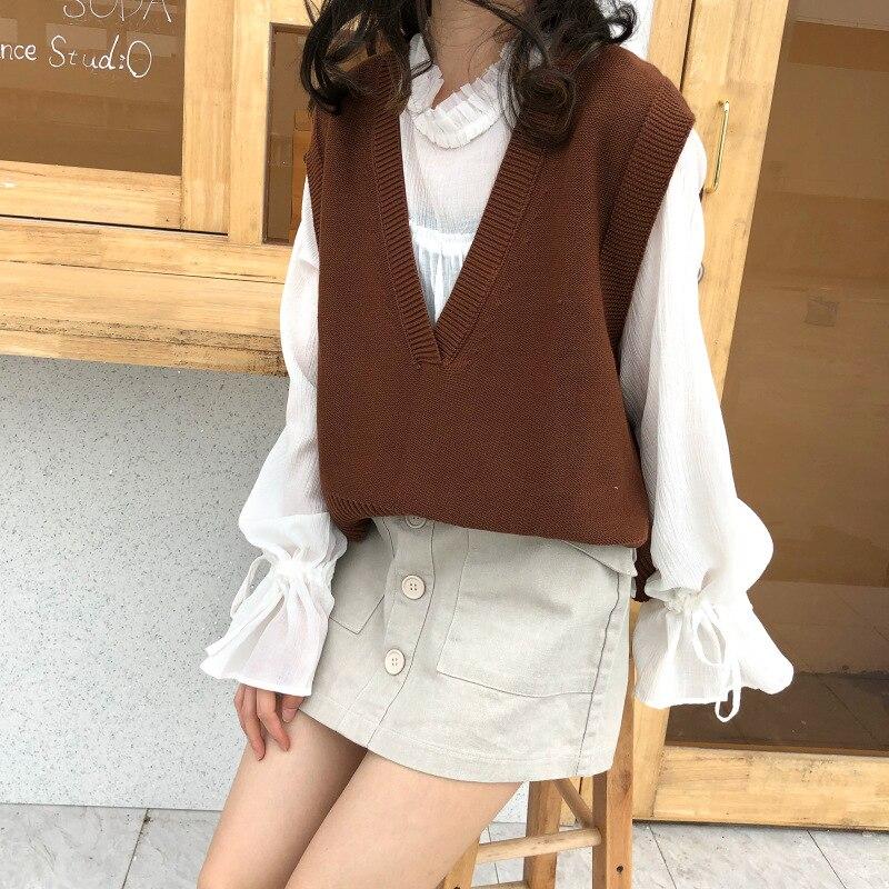 2018 Koreanische Ulzzang Herbst Lose Weste Pullover Frauen Casual Solide V Neck Sleeveless Split Pullover Weibliche Gestrickte Preppy Pullover