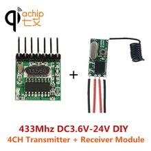 QIACHIP RF 433 Mhz 1527 öğrenme kodu kablosuz uzaktan kumanda verici modülü ve 433.92Mhz DC 12V 24V mini alıcı DIY kiti