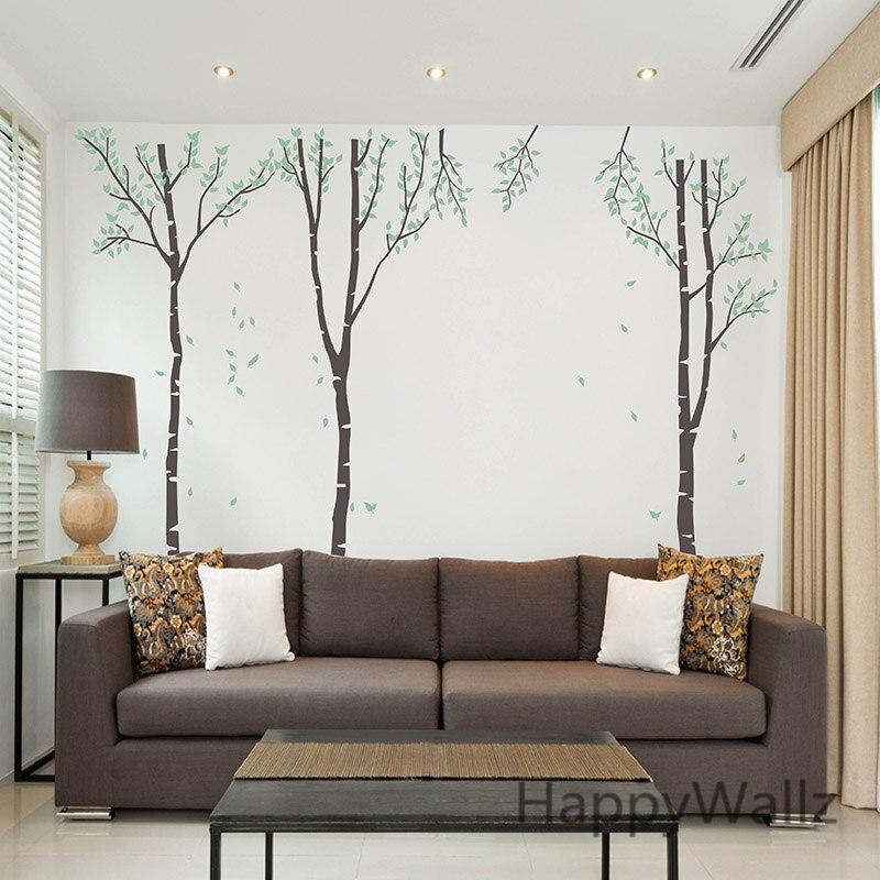 Sticker mural arbre de bouleau arbre généalogique Sticker mural bricolage grand arbre papier peint amovible vinyle Art mural T1