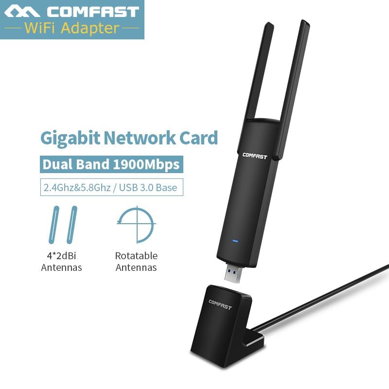 5 Ghz USB adaptateur WiFi 1900 Mbps WiFi Antenne 2db Double Bande Sans Fil Wi Fi Récepteur 802.11ac USB carte ethernet carte réseau