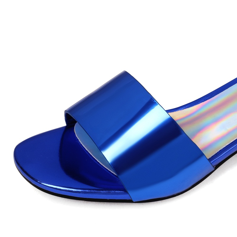 In Da Verniciata Toe Blue Alta Qualità silver Open Di Pelle red Estate Sandali Della Casuali Sexy Blu Spiaggia Argento Dei Donna Marca Scarpe Muli Signora Vibrazione Pistoni rwSRxr5q