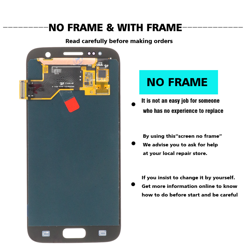 NEW SUPER AMOLED 5.1'' LCD Replacement with Frame for SAMSUNG Galaxy S7 Display G930 G930F Touch Screen Digitizer+service pack