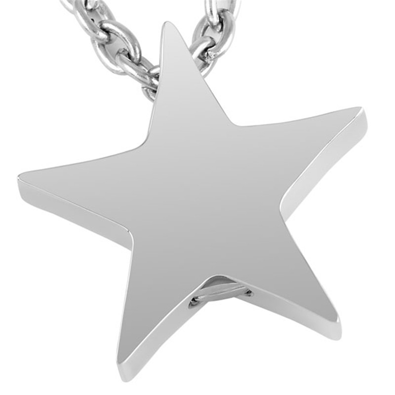 IJD8453 Cremation Jewelry Stainless Steel Ashes Pendant Memorial Urn Necklace Five pointed Star Shape