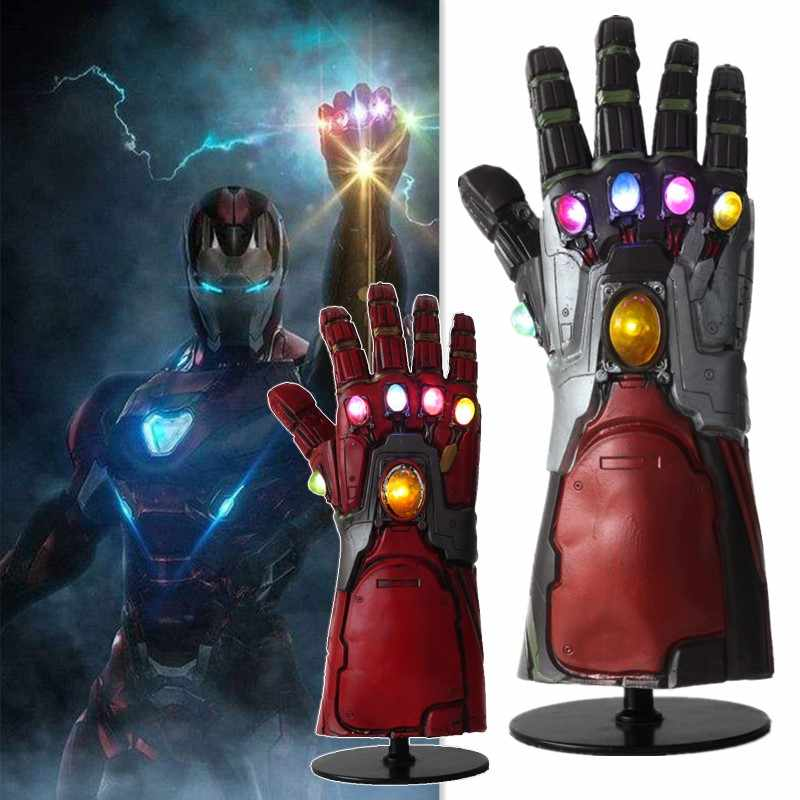 LED Avengers Endgame Superhero Iron Man Tony Stark Thanos Infinity Stone Cosplay LED Gloves Latex Hand Gauntlet Cosplay Props