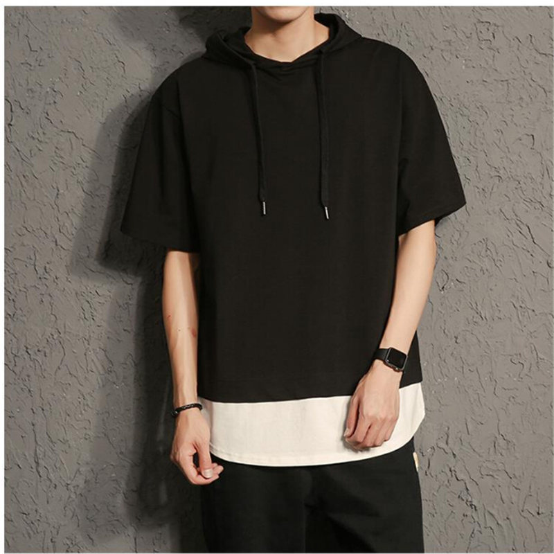 2018 New Brand Men`s Loose T-Shirt Male Half-Sleeve Japan Style Tops Summer Men Thin Tees Tshirt Solid Color M L XL