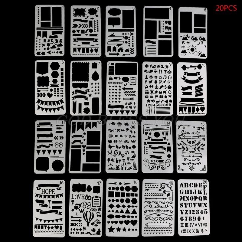 20PCS Bullet Journal Stencil Set Plastic Planner DIY Drawing Template Diary Decor Craft DIY Stencil School Supplies