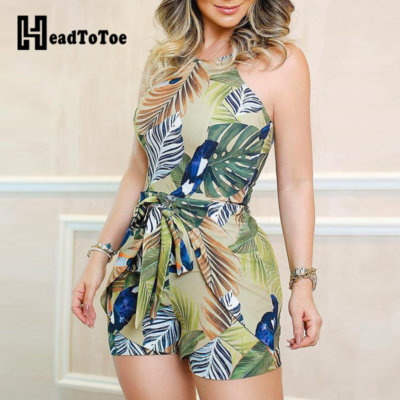 Tropical Print Knotted Design Romper Women Playsuits Sleeveless Casual Summer Holiday Beach Jumpsuits One Pieve Overalls Monos