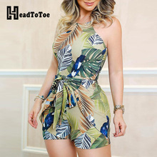 Tropical Print Knotted Design Romper Women Playsuits Sleeveless Casual Summer Holiday Beach