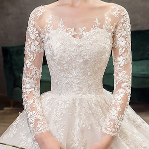 Image 3 - Mrs Win 2020 Full Sleeve Muslim Lace Wedding Dresses With Big Train New Luxury Ball Gown Wedding Dress Vestido De Noiva X