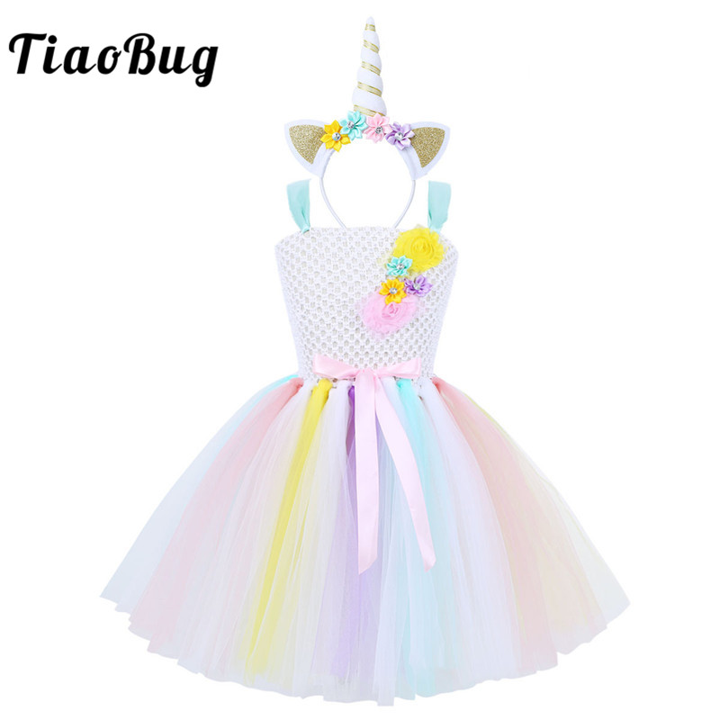 TiaoBug Child Girls Flower Cartoon Colorful Sleeveless Princess Tutu Dress with Hair Hoop Kids Halloween Cosplay Party Costume