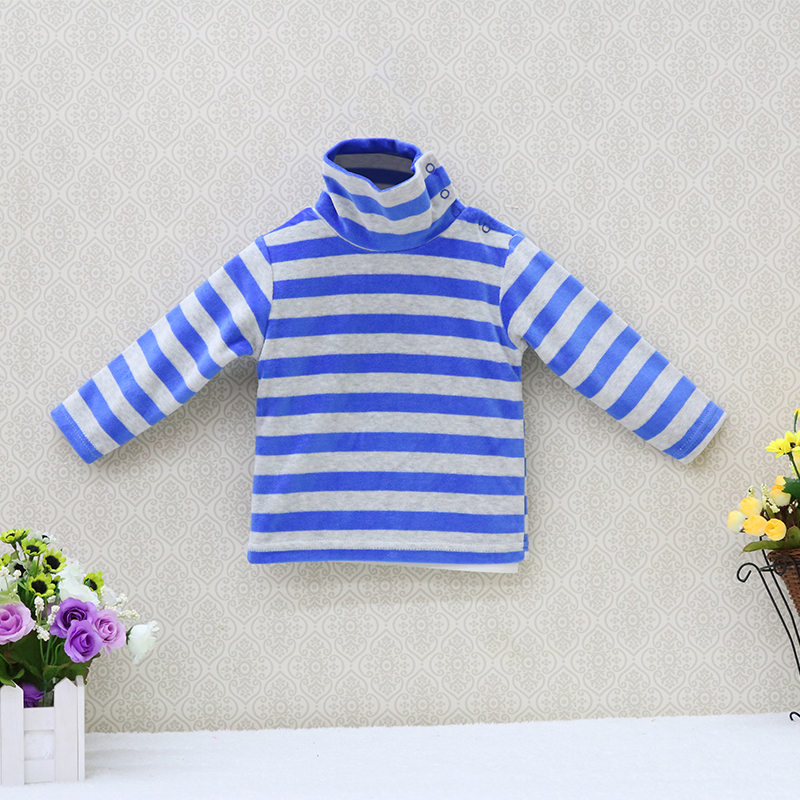 Little-Q-baby-turtle-neck-velour-blouse-5-pcslot-striped-spring-and-autumn-unisex-shirts-kids-long-sleeve-rivets-button-clothes-1