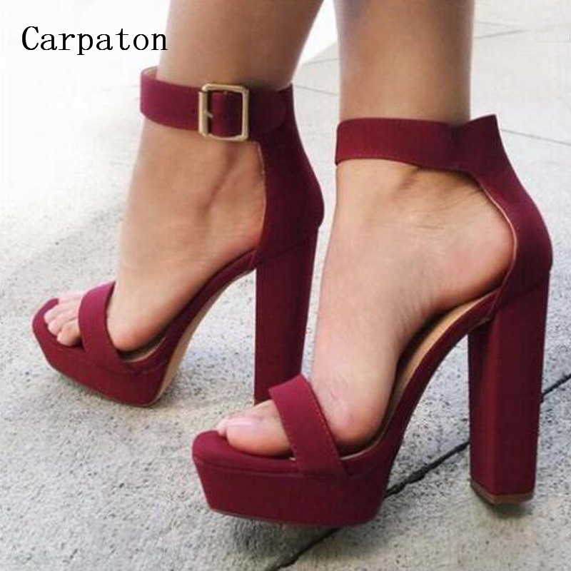 New Fashion Summer Women Platform Sandals Buckle Ankle Strap Single Band High Heels Female Open Toe Chunky Heel Sandals nemaone new fashion ankle strap open toe