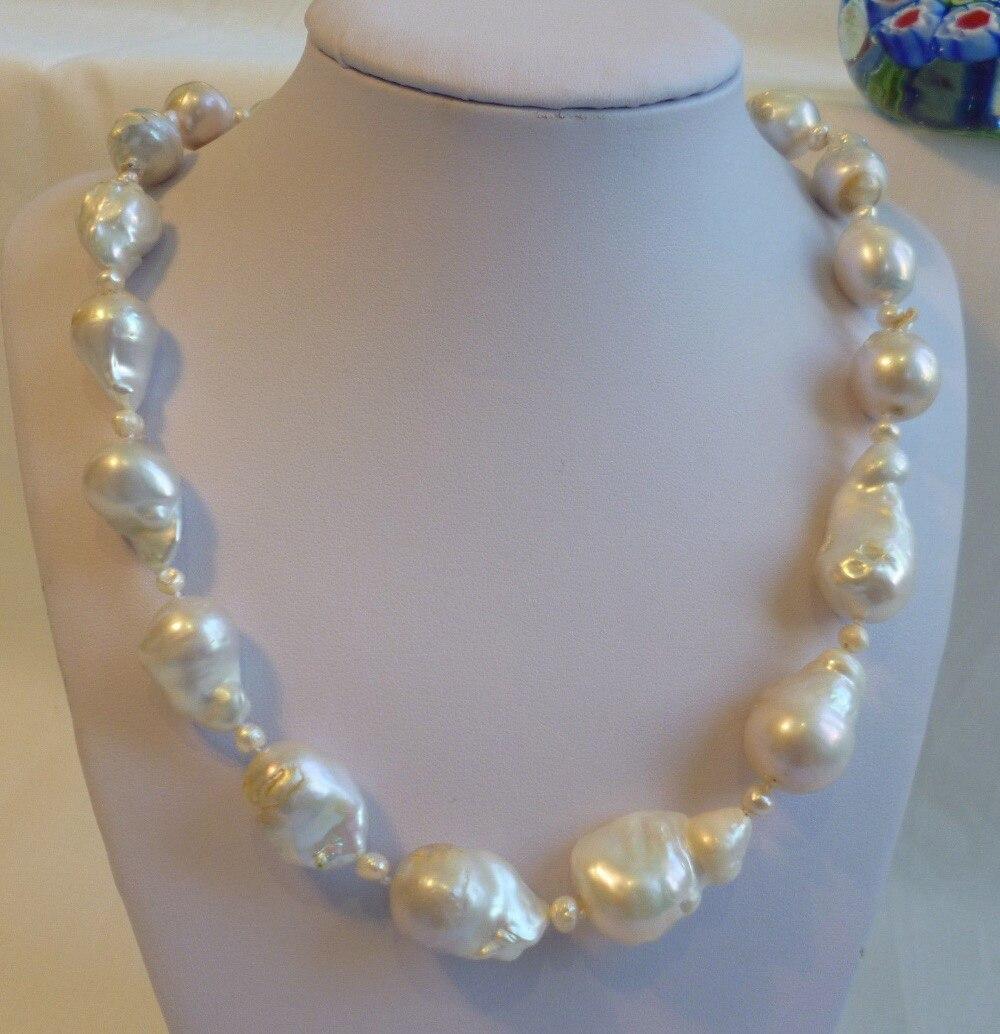 Silver Genuine 14-16mm 4mm Baroque freshwater pearls necklace shipping freeSilver Genuine 14-16mm 4mm Baroque freshwater pearls necklace shipping free