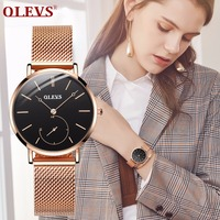 Luxury Brand Women Watch Black Dial Watches Women Casual Quartz Lady Dress wristwatch for girls moda mujer 2018 relogio feminino