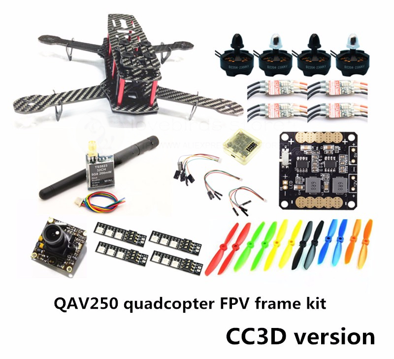 DIY mini drone QAV250 pure carbon FPV frame kit D2204 + Red Hawk BL12A ESC OPTO + NAZE32 / CC3D + 700TVL mini camera + TS5823 new qav r 220 frame quadcopter pure carbon frame 4 2 2mm d2204 2300kv cc3d naze32 rev6 emax bl12a esc for diy fpv mini drone