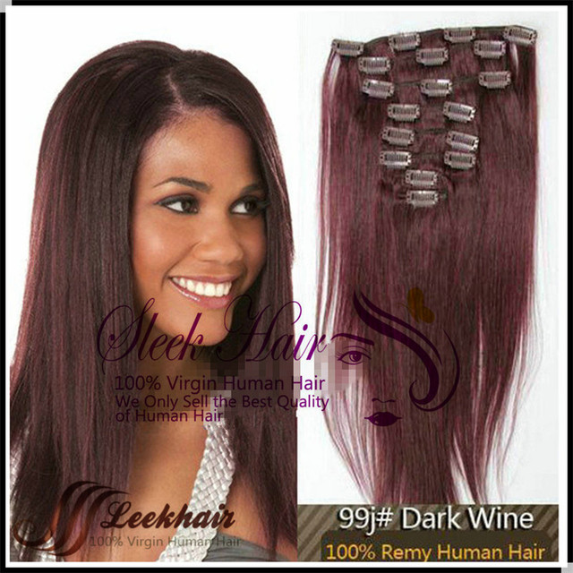 Lush Hair 20 110g 8pcs Straight Clip In Indian Hair Extensions 99j