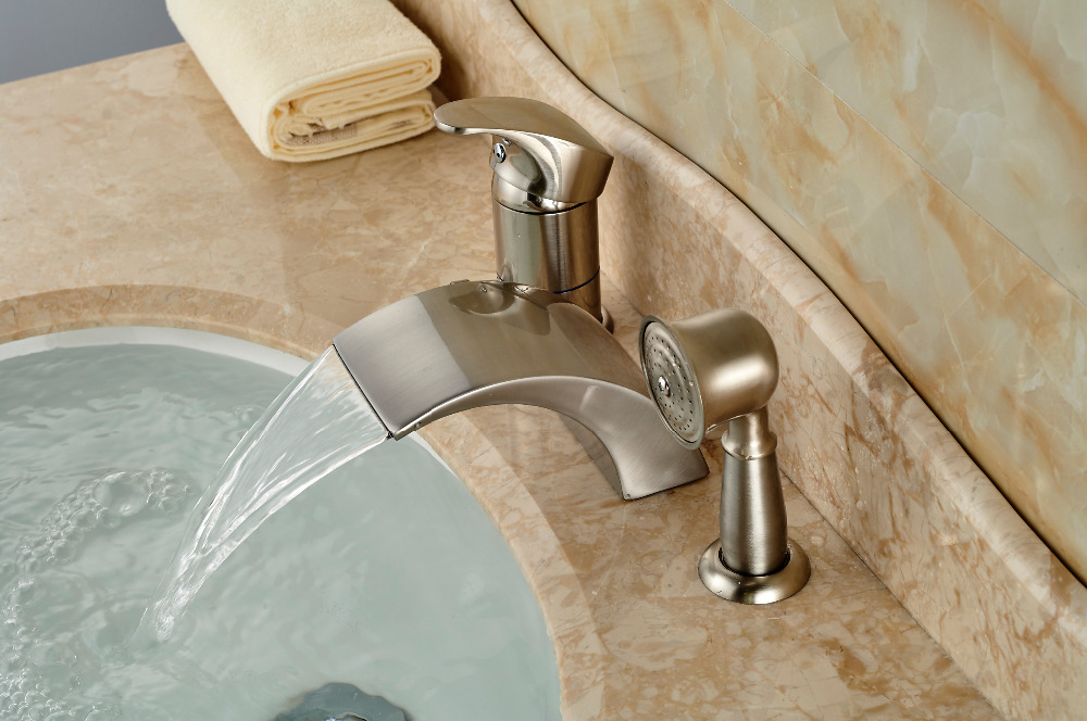 Brushed Nickel Roman Waterfall Spout Tub Faucet Bathroom Sink Mixer Tap W Hand Sprayer In