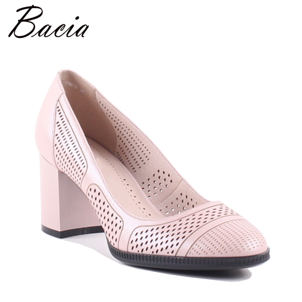 Bacia Women Thick heel Genuine Leather Shoes Ladies High Heels Black Round Toe Pumps High quality Classic Sheepskin Shoes MXA002 new women s high heels pumps sexy bride party thick heel round toe genuine leather high heel shoes for office lady women t8802