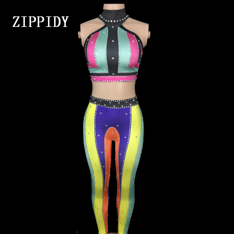 Colorful Rainbow Stones Outfit Sleeveless Top Stretch  2 Pieces Set  Leggings Party Dance Performance Sexy Pants