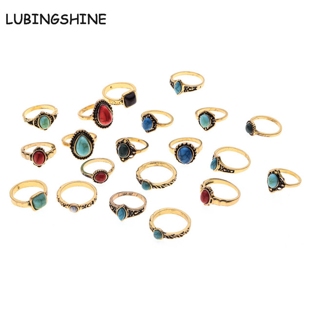 LUBINGSHINE 10PCS/Lot Women Rings Square/Round/Water Drop Design Faux Stone Vint