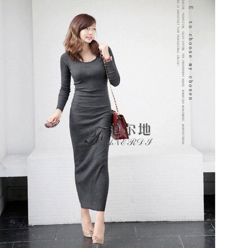 e7ad94fa57464b Darmowa Wysyłka 2018 New Moda Plus Size S-XL Stretch Długie Maxi Sukienki  Dla Kobiet jednoczęściowy Zima Ciepły Polar zimowe Sukienki