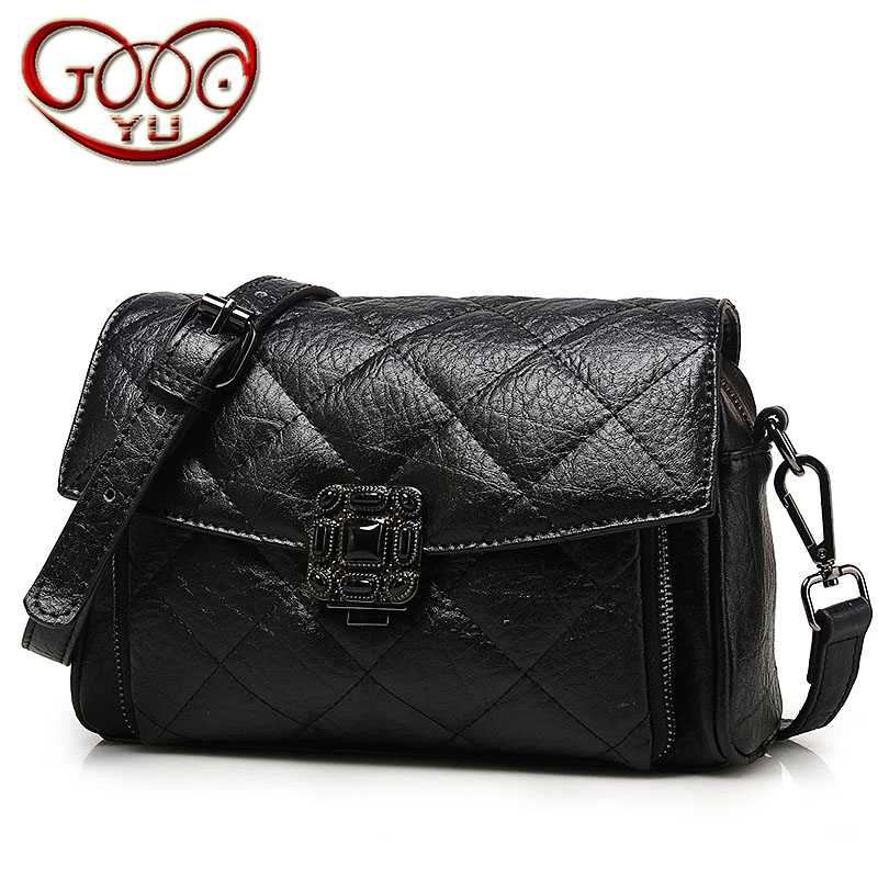 New tide Lingge Europe and the United States fashion leather handbag ladies cross-section cowhide shoulder slung small square ba europe and the united states classic sheepskin checkered chain tide package leather handbags fashion casual shoulder messenger b
