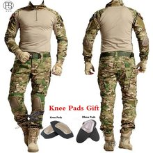 Tactical Military Uniform Clothing Army Camping Combat Jersey Shirt + Spodnie z nakolannikami Camouflage Hunting Coat Clothes