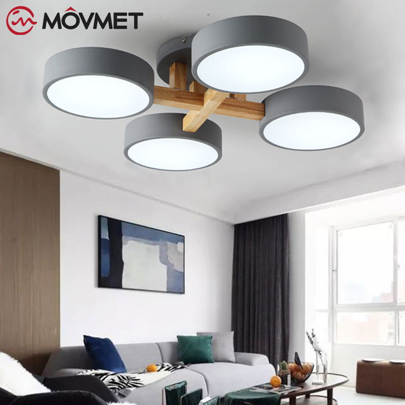 Star Wooden LED Ceiling Lights With Remote Control Macaron color Ceiling Lamp For Living Room Dining Kitchen Lighting Fixtures