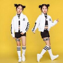 Детские танцевальные костюмы в стиле хип-хоп; детская одежда для уличных танцев; белая куртка; черный жилет; шорты; танцевальная одежда для девочек; сценический наряд; DN1740