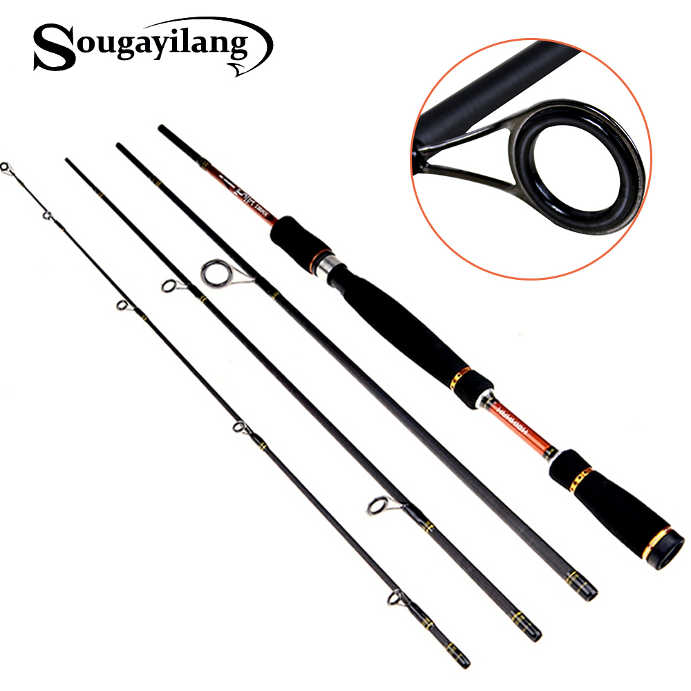 Sougayilang 2.1m 2.4m 2.7m Spinning Fishing Rod 4 sekcijos Carbon Spinning Rod Bass Medium Hard Lure Rod Olta