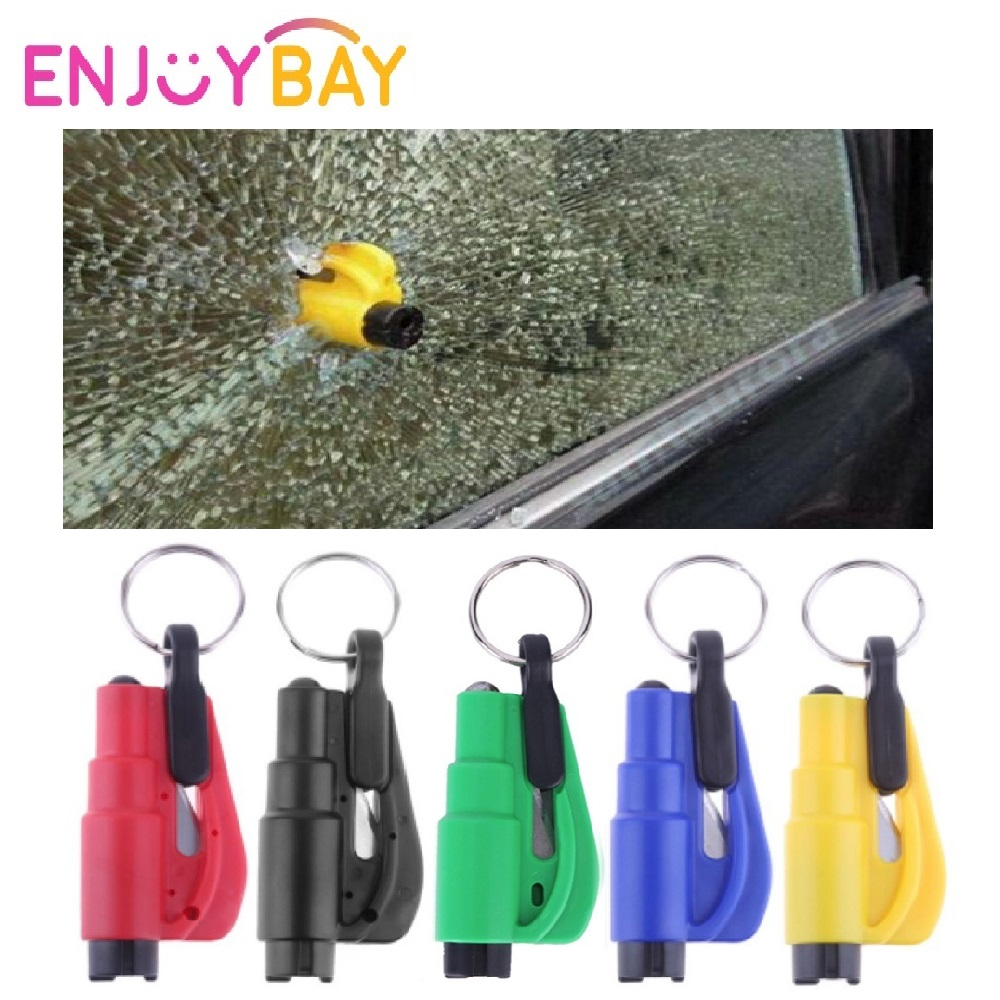 Enjoybay 3 In 1 Emergency Mini Safety Hammer Keychain Glass Window Breaking Hammer Keyring Escape Rescue Seat Belt Knife Cutter
