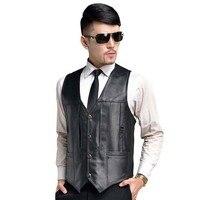 Fashion Genuine Leather Vest Sleeveless Jacket Men Casual Vest Winter Autumn Spring V Neck Slim Waistcoat Plus Size M 9XL