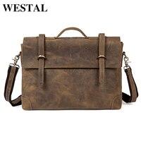 WESTAL Multifunctional Crazy Horse Men Bag Genuine Leather Vintage Handbags Messenger Shoulder Bags Crossbody Bag For