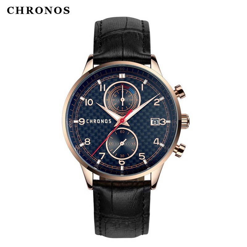 CHRONOS 2017 New Business Quartz watch Men Brand Luxury sports Watches Men Genuine Leather strap army wristwatch clock hours new listing men watch luxury brand watches quartz clock fashion leather belts watch cheap sports wristwatch relogio male gift