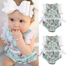 Детские Боди; Детская летняя одежда для маленьких девочек; хлопковый комбинезон с цветочным кружевом; Одежда AU